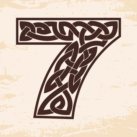 Number 7 with Celtic ornament in monochrome Illustration.