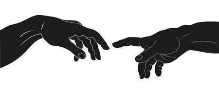 Vector drawing of two hands isolated on white background. Çizim