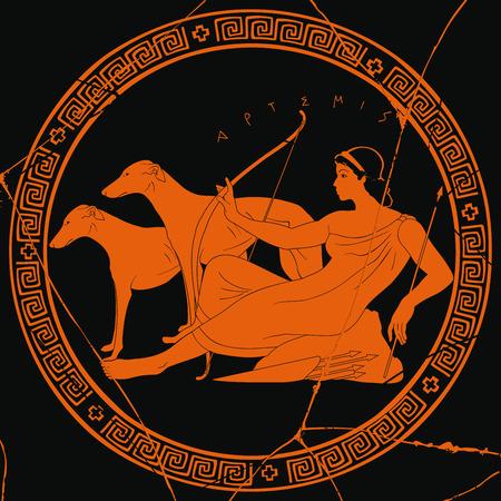 Greek goddess Artemis image illustration Illustration