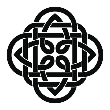Celtic national ornament in black and white Illustration.