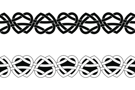 Seamless Celtic national ornament interlaced ribbon isolated on white background.