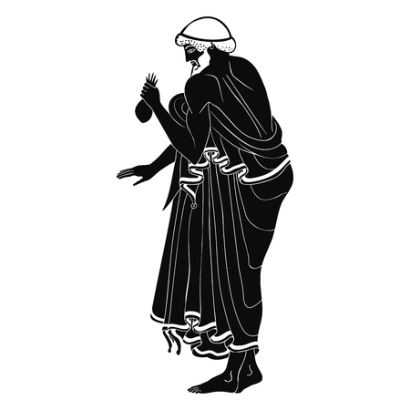 Ancient Greek man carries a bag of money in his hands. Isolated black drawing on a white background. Illustration