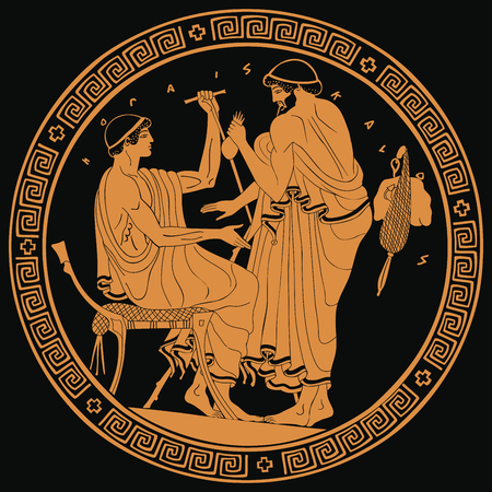 Two ancient Greek men with a staff and a purse of money in their hands are talking. Golden pattern on a black background.