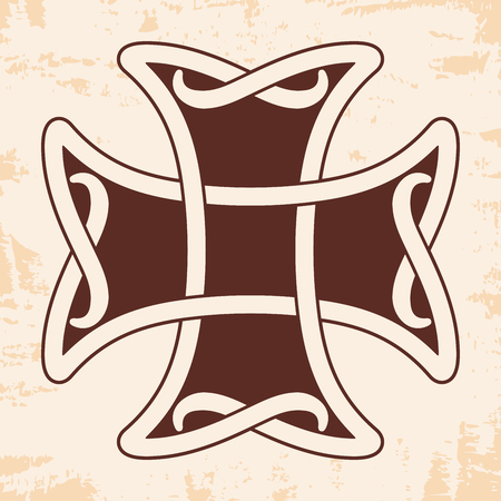 Celtic cross with national ornament as interlaced ribbon on a beige background with an aged effect. Illustration