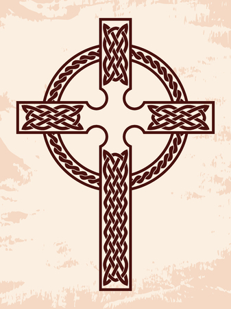 Celtic cross with national ornament as interlaced ribbon on a beige background with an aged effect. Ilustração
