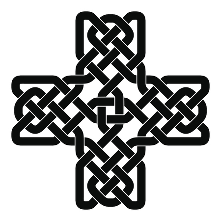 Celtic cross with national ornament as interlaced ribbon isolated on white background. Illustration