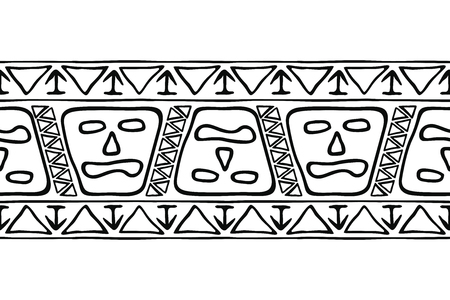 Seamless american tribal national ornament. Black pattern isolated on white background.