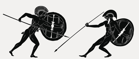 Two ancient Greek warrior. Illustration