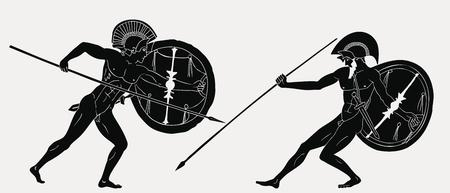 Zwei antike griechische Krieger.