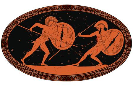 Zwei antike griechische Krieger. Vektorgrafik
