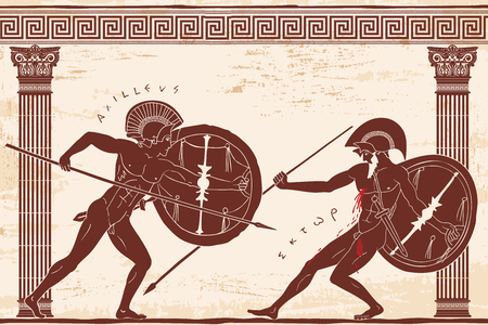 Two ancient Greek warrior. Vectores