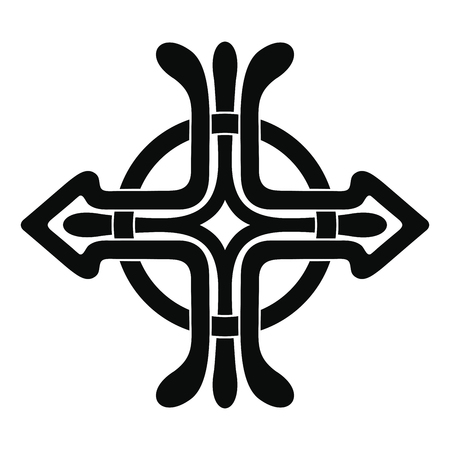 Celtic cross tattoo with national ornament as interlaced ribbon isolated on white background.