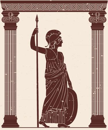 Athena Pallada with a spear.