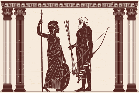 Athena Pallada and Odysseus.