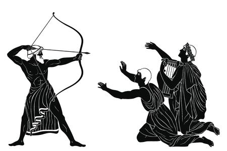 Odyssee und die Freier von Penilope. Vektorgrafik