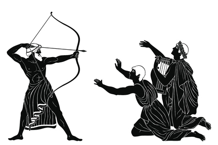 Odyssey and the suitors of Penilope. 向量圖像