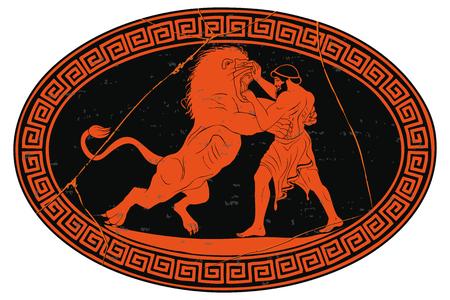 Ercole sconfigge il leone di Nemea. 12 imprese di Ercole. Medaglione ovale isolato su uno sfondo bianco.