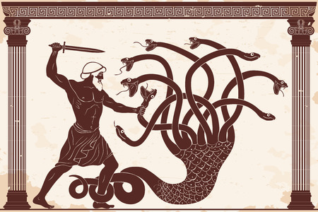 Hercules kills the Lyrna Hydra. 12 exploits of Hercules. Figure on a beige background with the aging effect.