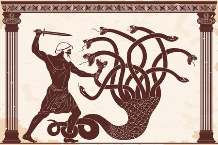 Hercules zabija Hydrę Lyrna. 12 wyczynów Herkulesa. Postać na beżowym tle z efektem postarzenia. Ilustracje wektorowe
