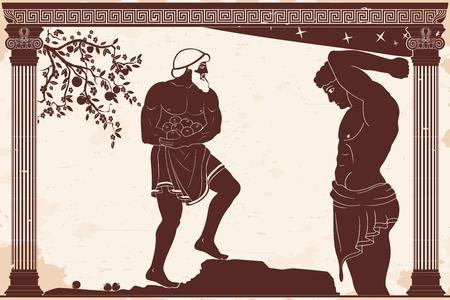 Hercule porte les pommes Golden Hespérides. Figure sur fond beige avec effet vieilli.