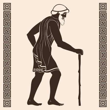 Ancient greek old man with a staff. Reklamní fotografie