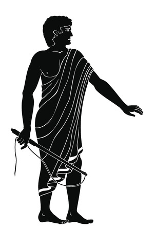 Ancient Greek man with a whip in his hand. Manager at the household yard. Figure isolated on white background.