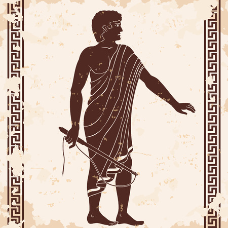 Ancient Greek man with a whip in his hand. Manager at the household yard. Figure on a beige background with the aging effect.