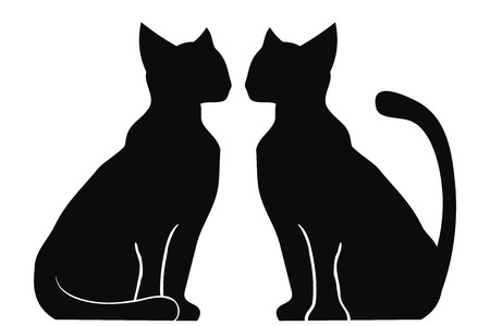 Silhouette of two cats sitting near each other. Animals isolated on white background.