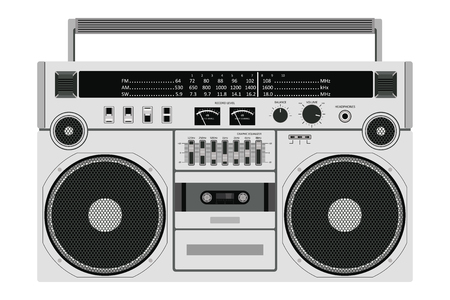 Vector old cassette recorder for pushing music with two speakers isolated on white background.