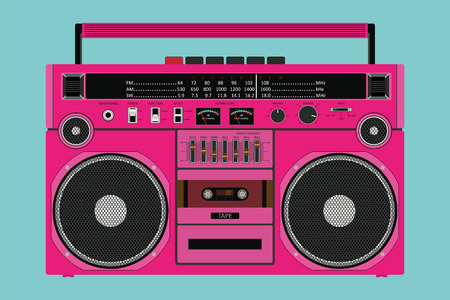 Vector old pink color tape recorder for pushing music with two speakers isolated on white background. Çizim