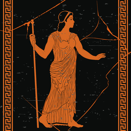 Ancient Greek woman in a tunic with a staff in her hand on a black background with the effect of aging and cracks.