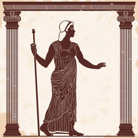 Ancient Greek woman in a tunic with a staff in her hand on a beige background with the effect of aging.