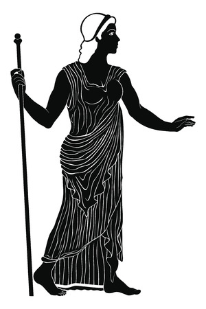 Ancient Greek woman in a tunic with a staff in her hand isolated on white background.