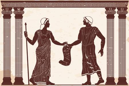 Greco antico uomo e donna in tuniche nel vecchio tempio tra le colonne.