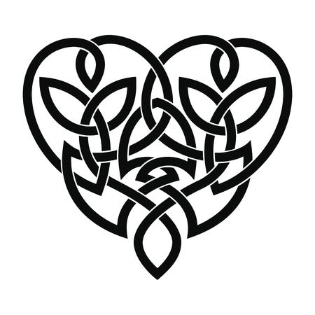 Vector ornamento nacional celta en forma de corazón para tatuaje aislado sobre fondo blanco. Ilustración de vector