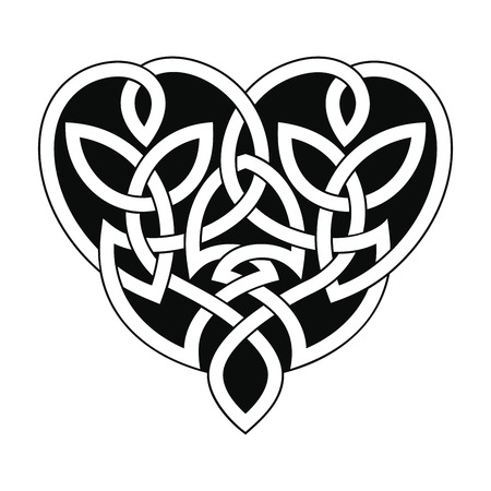 Vector Celtic national ornament heart shape for tattoo isolated on white background.