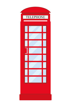 Vector image of red London telephone booth isolated on white background. Ilustrace