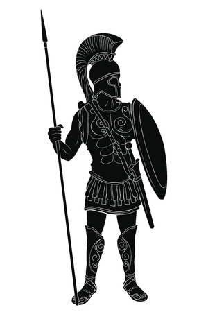 Roman Empire warrior in armor and a helmet with a weapon in hand isolated on white background.