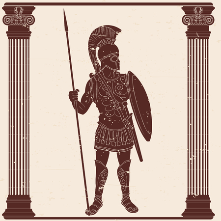 Roman Empire warrior in armor and a helmet with a weapon in hand on beige backgroundwith the aging effect. Illustration