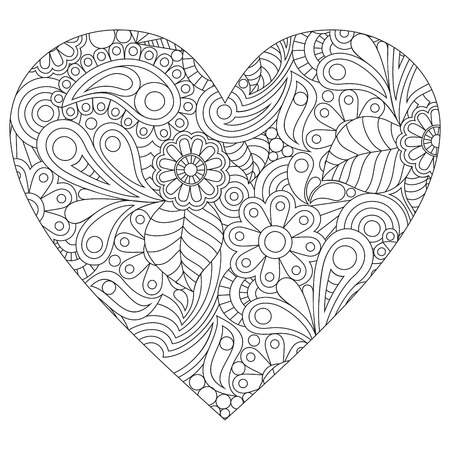 Vector coloring on a white background in the shape of a heart.