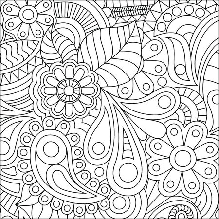 Vector illustration of a coloring page with fine details Isolated on white background. Ilustrace