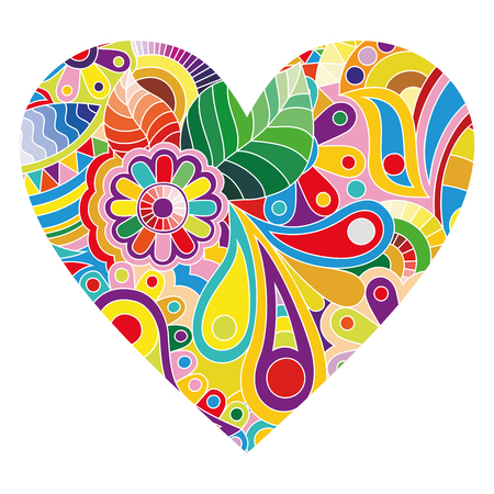Multicolored heart with small elements for Valentin Day card design isolated on white background. Ilustrace