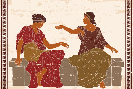 Two ancient Greek women. Vettoriali