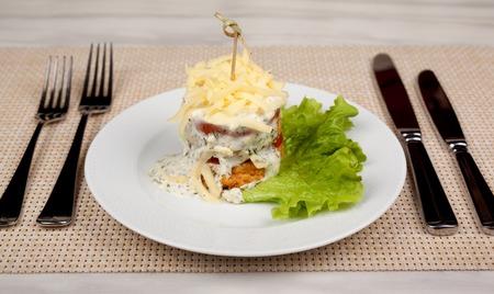 Food in the plate. Reklamní fotografie - 123970944