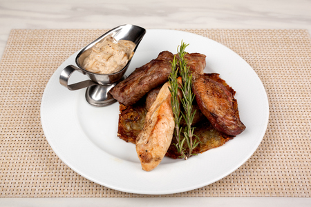 Food in the plate. Reklamní fotografie - 123970949