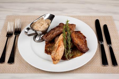 Food in the plate. Reklamní fotografie - 123970955