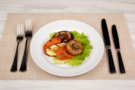 Food in the plate. Reklamní fotografie - 123970921