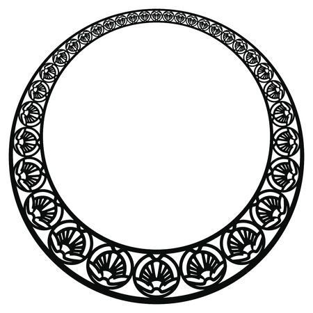 Vector circular ornament in modern style. Black drawing on white background. Reklamní fotografie - 123970922