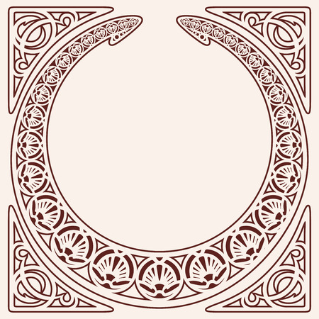 Vector circular ornament in modern style. Brown drawing isolated on beige background.