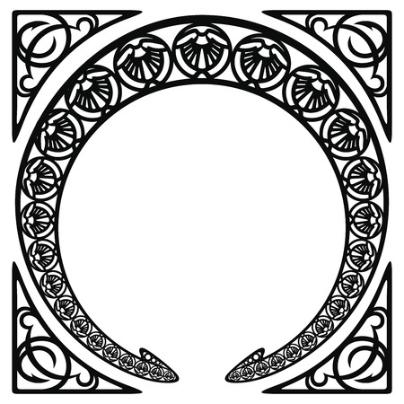 Vector circular ornament in modern style. Black drawing on white background. Reklamní fotografie - 123970927